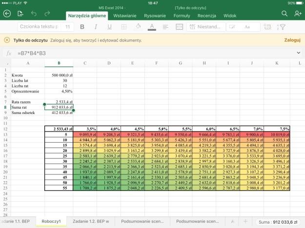 iOS Excel formatowanie warunkowe